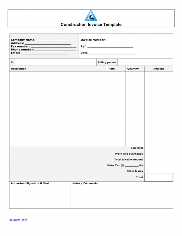 Construction Bill Template Pdf Example