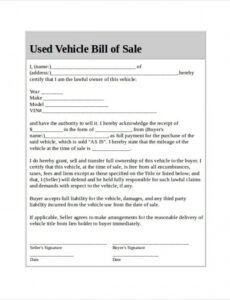 Costum Virginia Vehicle Bill Of Sale Template Excel Sample