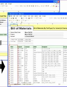 Editable Bill Of Material Template Doc Example