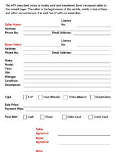 Editable Bill Of Sale For Dirt Bike Template Word Example