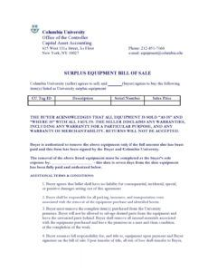 Editable Bill Of Sale For Equipment Template Word