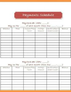 Editable Bill Pay Schedule Template  Example