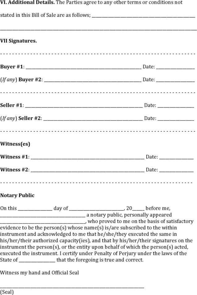 Editable Marine Bill Of Sale Template Pdf