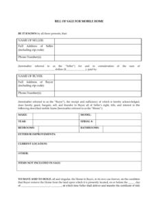 Editable Standard Bill Of Sale Template Pdf