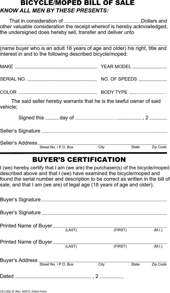 Editable Standard Bill Of Sale Template Word Sample