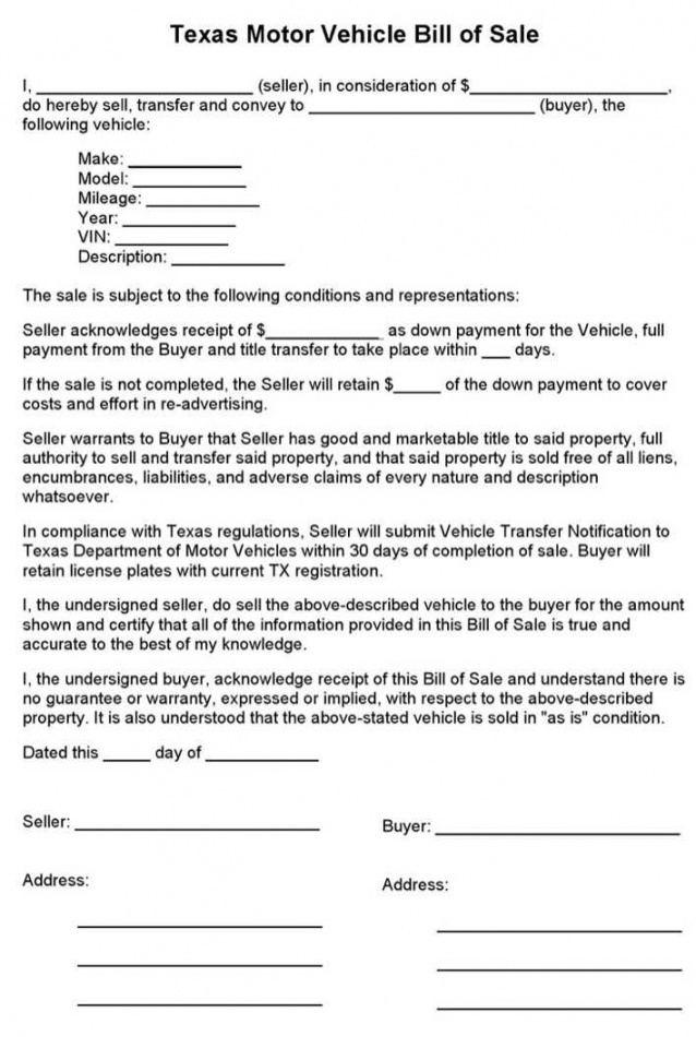 Editable Truck Bill Of Sale Form Template  Sample