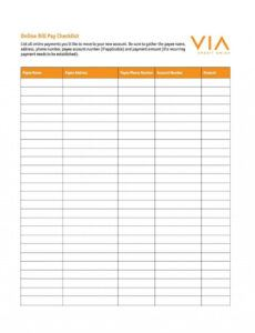 Free Bill Payment Checklist Template  Sample