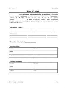 Free General Bill Of Sale Template  Example