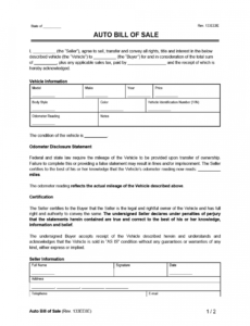 Free Legal Bill Of Sale Template  Sample