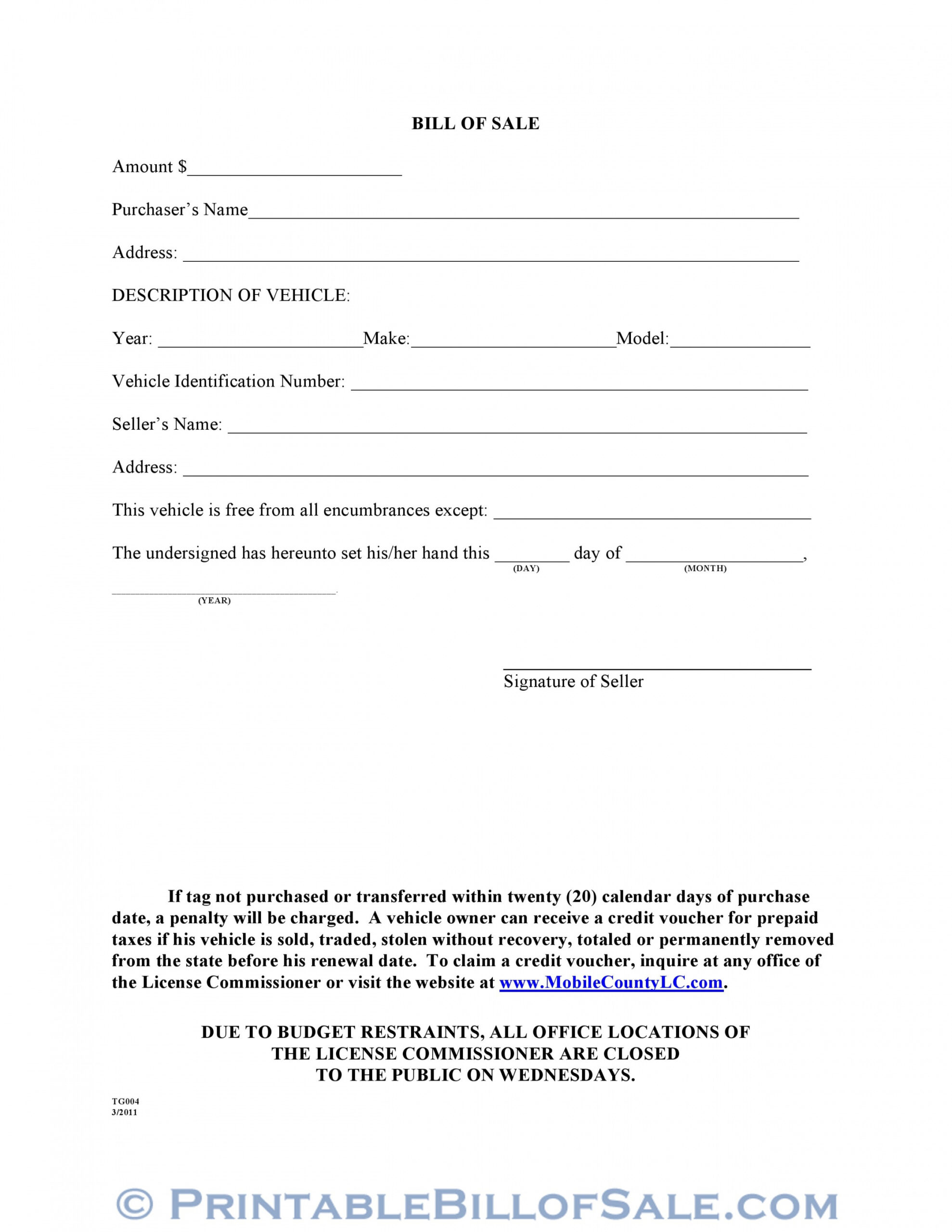 Free Mobile Home Bill Of Sale Template  Sample