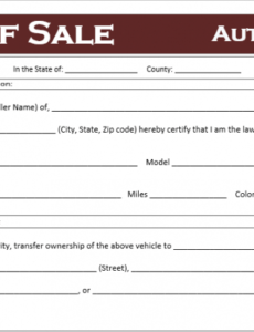 Free Virginia Vehicle Bill Of Sale Template  Sample