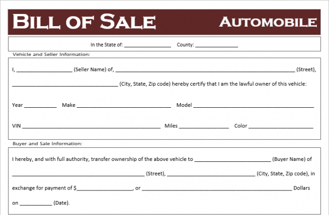 Free Virginia Vehicle Bill Of Sale Template  Sample