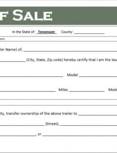 Printable Camper Bill Of Sale Template Doc Sample