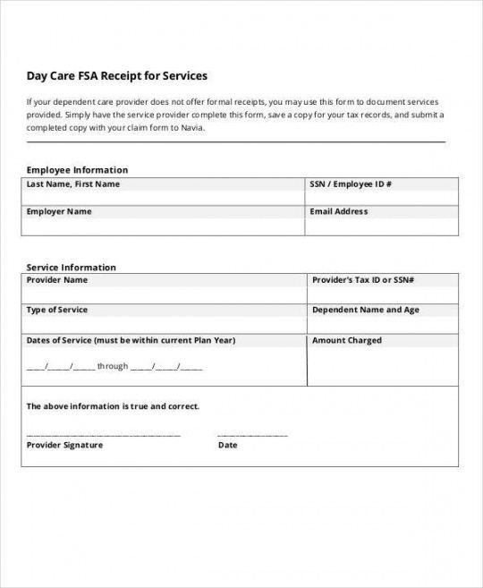 Printable Daycare Bill Template  Example