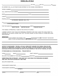 Printable Florida Boat Bill Of Sale Template Excel Sample