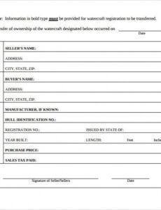 Professional Marine Bill Of Sale Template Doc Sample