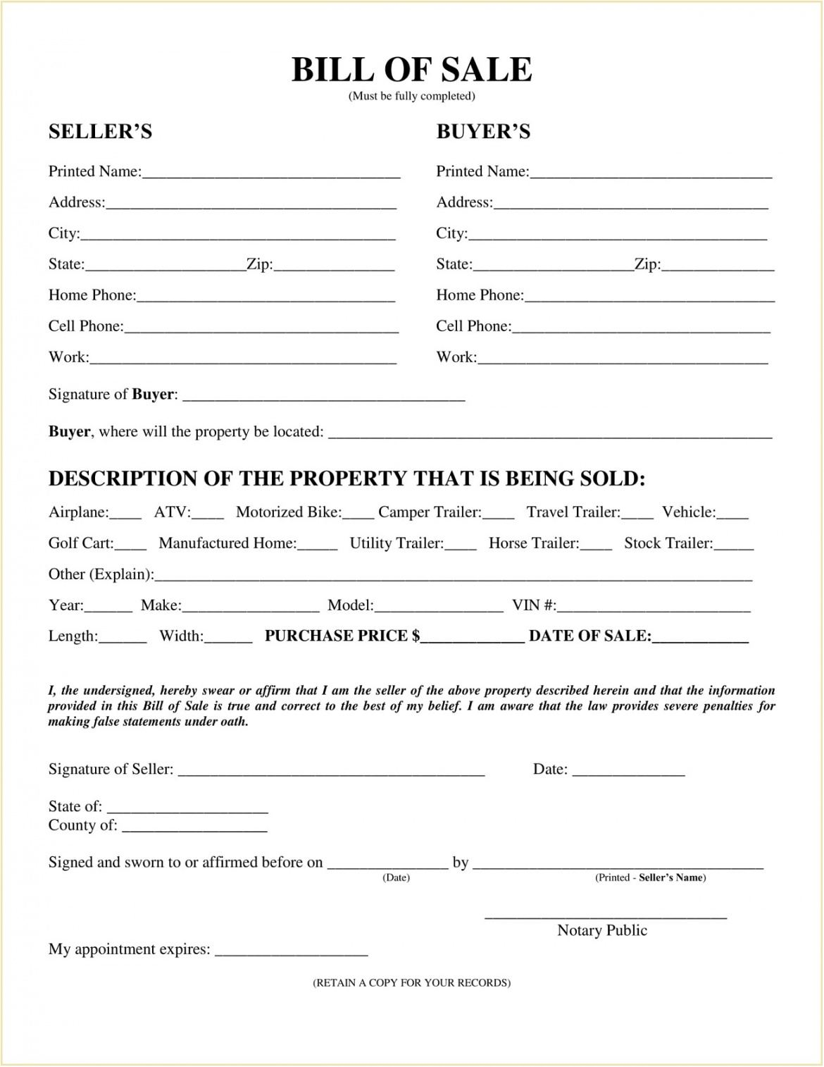 Professional Truck Bill Of Sale Form Template