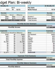Best Bi Weekly Bill Pay Template Pdf Example