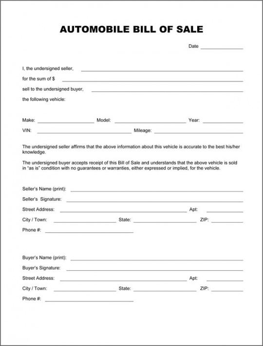 Best Recreational Vehicle Bill Of Sale Template Doc Example