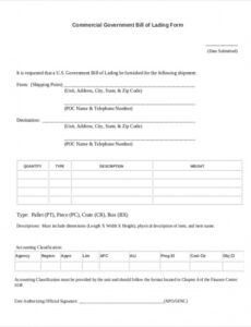 Costum House Bill Of Lading Template  Example