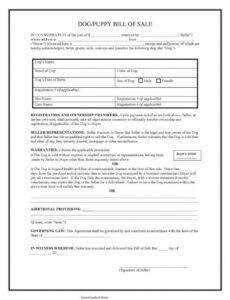 Dog Bill Of Sale Template Word Sample