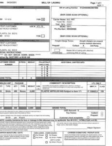 Editable Commercial Bill Of Lading Template Word