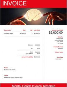Editable Mental Health Itemized Bill Template Pdf
