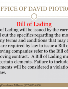 Editable Moving Company Bill Of Lading Template Excel Sample