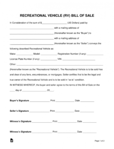 Editable Recreational Vehicle Bill Of Sale Template Excel