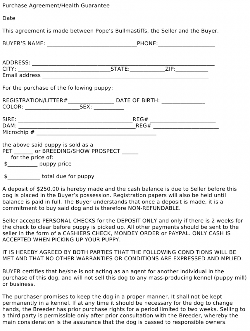 Free Dog Bill Of Sale Template  Example