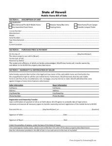 Free House Trailer Bill Of Sale Template