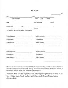 Free House Trailer Bill Of Sale Template  Example
