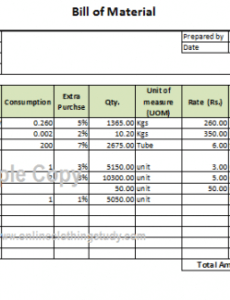 Free Manufacturing Bill Of Materials Template  Example