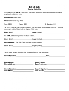 Free Recreational Vehicle Bill Of Sale Template Word Example