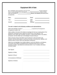 Free Tractor Bill Of Sale Template Pdf