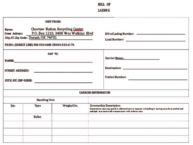 Generic Bill Of Lading Template Doc Example