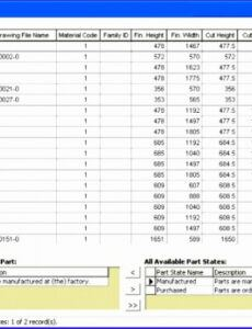 Printable Construction Bill Of Materials Template Doc