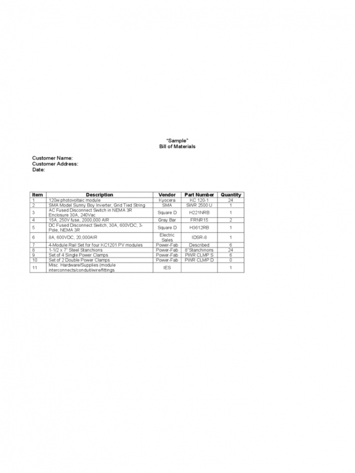 Printable Construction Bill Of Materials Template Pdf Example