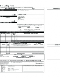 Printable Generic Bill Of Lading Template Excel