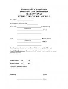 Printable Private Car Bill Of Sale Template Word Example