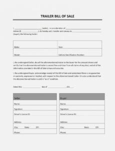 Printable Travel Trailer Bill Of Sale Template  Example