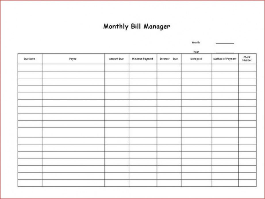 Professional Monthly Bill Pay Template Word