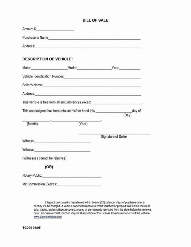 Professional Private Car Bill Of Sale Template Excel