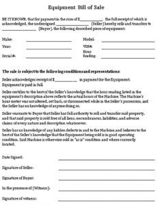 Professional Tractor Bill Of Sale Template