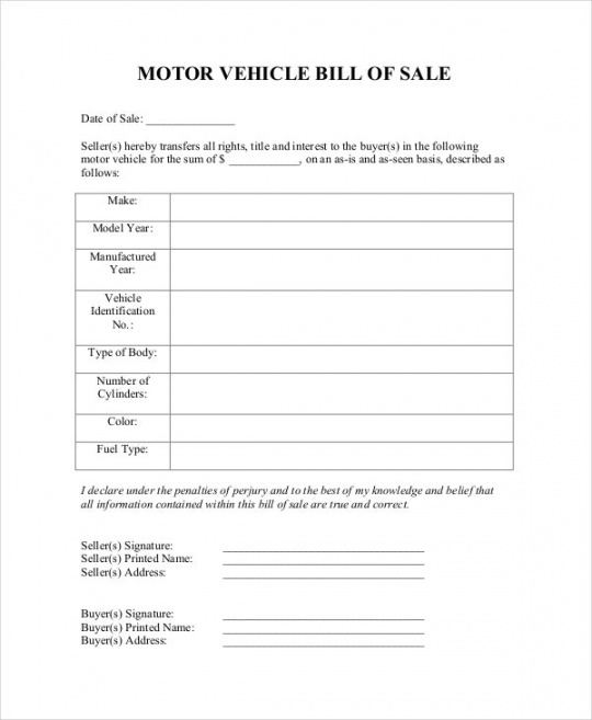Professional Truck Bill Of Sale Template Pdf Example