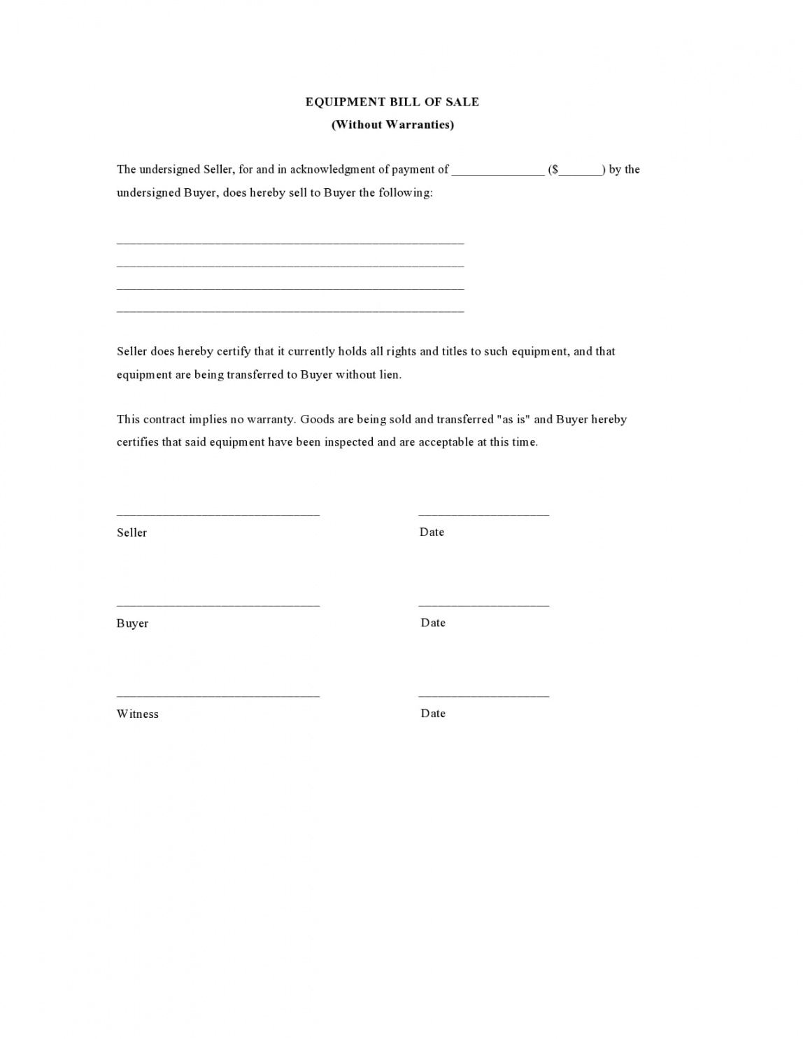 Tractor Bill Of Sale Template Word Sample