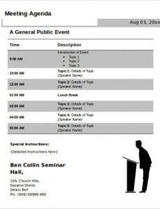 Costum Online Conference Agenda Template Word Sample
