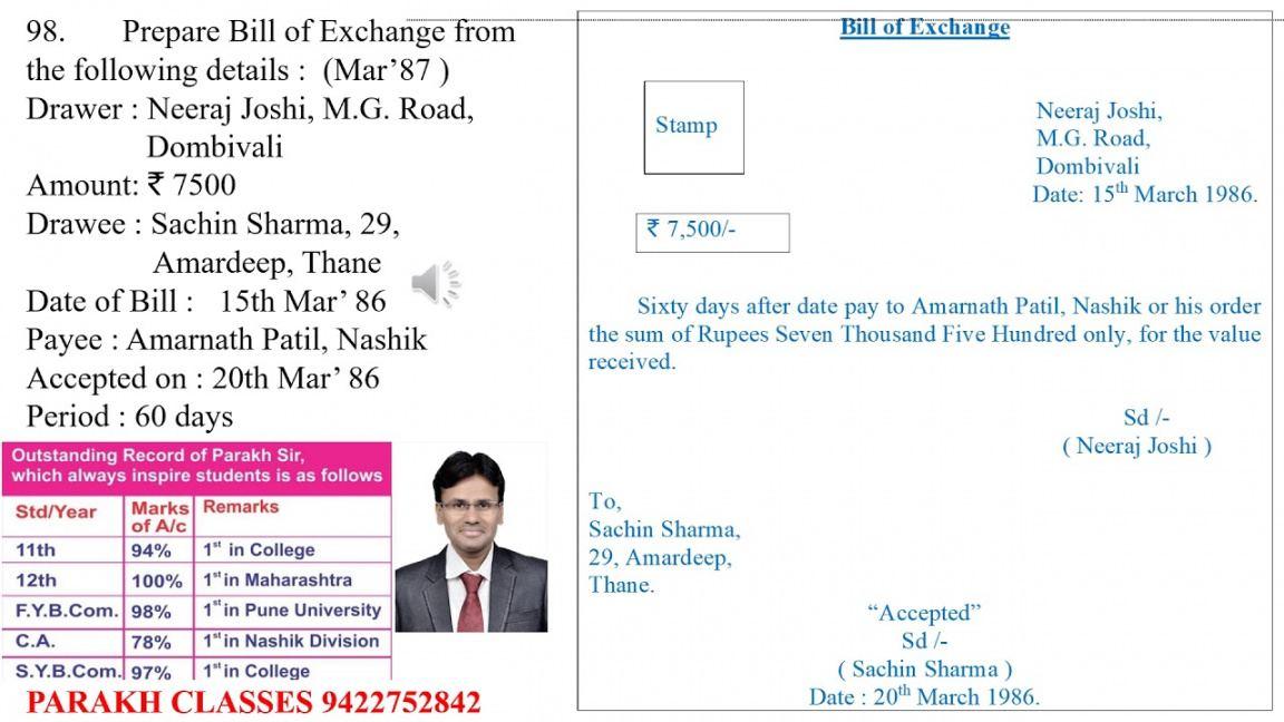 International Bill Of Exchange Template  Sample