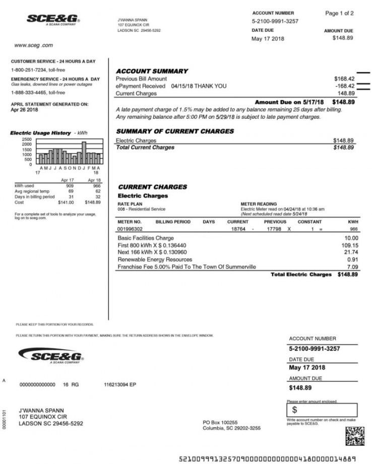 Printable Tenant Utility Bill Template Word Sample
