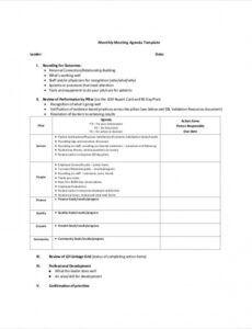 Professional Leadership Team Meeting Agenda Template